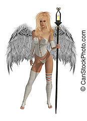 White Winged Angel With Blonde Hair - White winged angel...