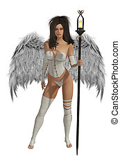 White Winged Angel With Dark Hair - White winged angel with...