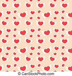 Romantic seamless pattern with hearts Vector illustration...