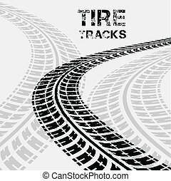 tire tracks in perspective view