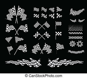 Checkered flag vector set illustration on black background