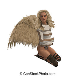 Blonde Rebel Angel - Rebel angel in a straight jacket,...
