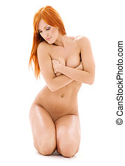 healthy naked redhead - bright picture of healthy naked...