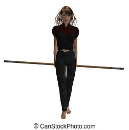 Woman Warrior - Woman warrior hold a staff