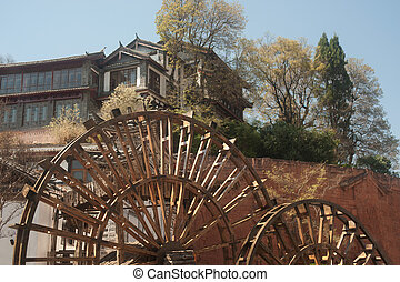 Water wheel ,landmark of Lijiang Dayan old town.