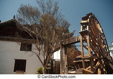 Water wheel ,landmark of Lijiang Dayan old town.