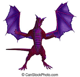Pink Purple Dragon - Pink purple dragon standing with wings...