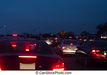 Cars Stopped in Traffic Evening Tail Lights - Cars Stopped...