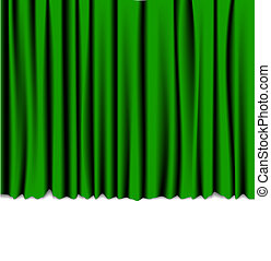 Green curtain from the theater - background with place for...
