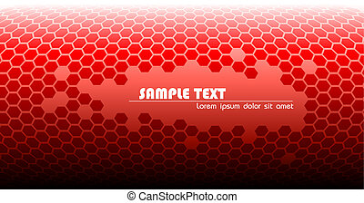 Abstract red technical background made from hexagons