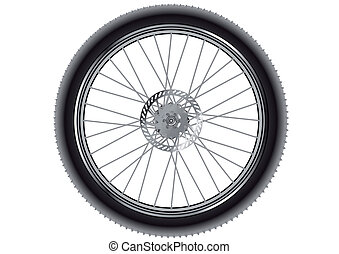 mountain bike wheel isolated on a white background