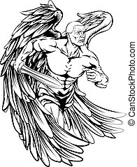 Sword angel character - An illustration of a warrior angel...