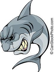 Shark mascot character - An illustration of a fierce shark...