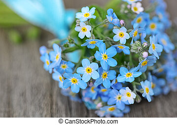 Forget-me-not - Small bouquet of blue forget-me-not, tied a...