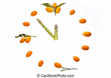 It's almost high noon. - A dial-plate shaped out of kumquats...