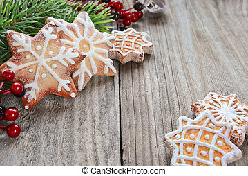 Christmas decoration - Gingerbread cookies and spruce...