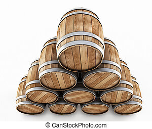 Stack of barrels isolated on a white background