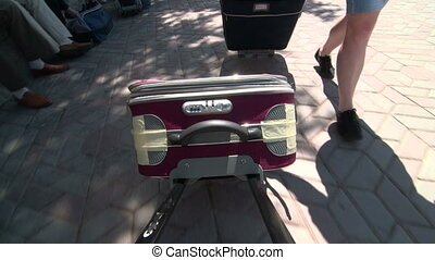 Passengers with luggage traveling to summer vacation