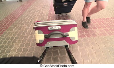 People traveling with luggage