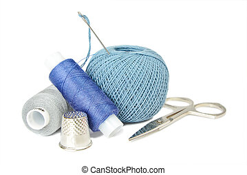 Needlework - Sewing kit on white background