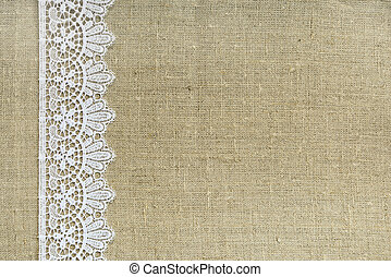 Textile background - Lace border over burlap