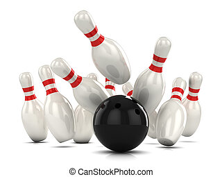 3d Ten pin bowling strike - 3d render of a ten pin bowling...