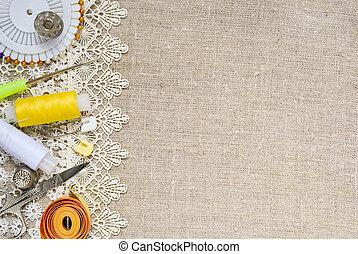 Textile background - Lace border over burlap