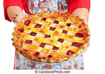 Cherry Pie Closeup - Closeup of a homemade cherry pie being...