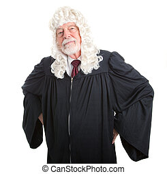 Stern British Judge - British judge in wig with hands on...