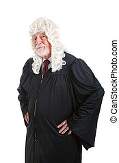 Serious British Judge - Serious looking judge wearing a wig...