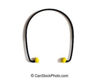 Ear protection plugs - Set of black and yellow ear plugs...