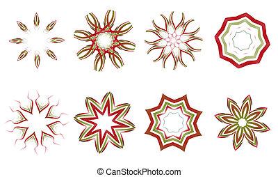 floral and ornamental elements - illustration set of...