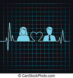creative male female icon with electrocardiograph background...