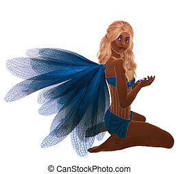 African American Fairy - Blue fairy with blonde hair,...