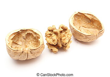 Walnut without shell and nutshells on white background -...