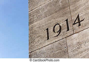 1914 - Number 1914 on monument for the dead of the First...