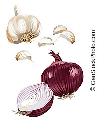 Garlic and Onion - Clip-arts of Garlic and Onion