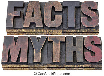 facts and myths in wood type - facts and myths - isolated...