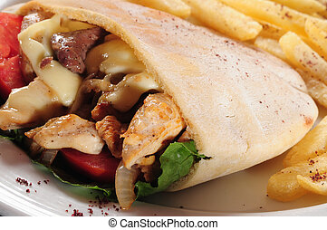 Gyro sandwich - Greek sandwich wit french fries