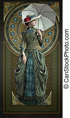 Green Belle Epoque Gown, 3d CG - 3D computer graphics of a...
