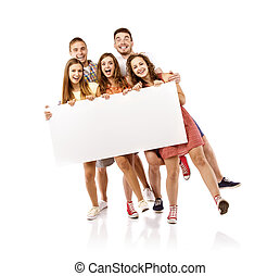 Group of happy students - Group of happy young teenager...