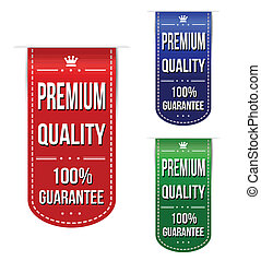 Premium quality banner design set over a white background,...