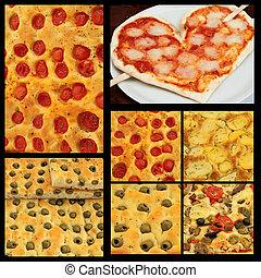 italian pizza collage