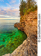 Rocky Coast at Cave Point - The rocky coast of Door County,...