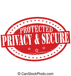 Privacy and secure - Stamp with text privacy and secure...