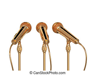 dorado, micrófonos, aislado