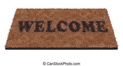 doormat with text Welcome - 3d render of brown coir doormat...