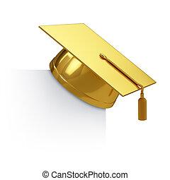 graduación, gorra, dorado