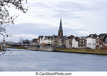 Panorama of Maastricht, Netherlands in cloudy calm winter...