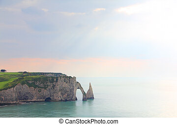 Etretat, cliffs - View on sea and cliffs in Etretat,...